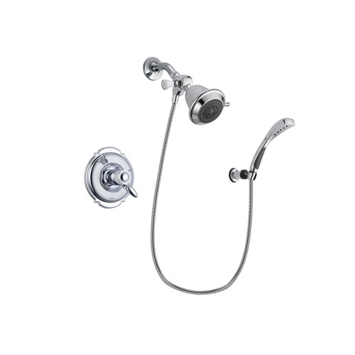 Delta Victorian Chrome Finish Thermostatic Shower Faucet System Package with Shower Head and Wall-Mount Bracket with Handheld Shower Spray Includes Rough-in Valve DSP0972V