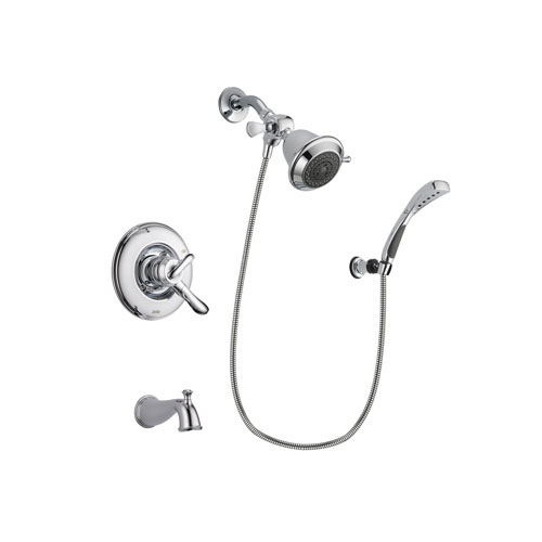 Delta Linden Chrome Finish Dual Control Tub and Shower Faucet System Package with Shower Head and Wall-Mount Bracket with Handheld Shower Spray Includes Rough-in Valve and Tub Spout DSP0999V
