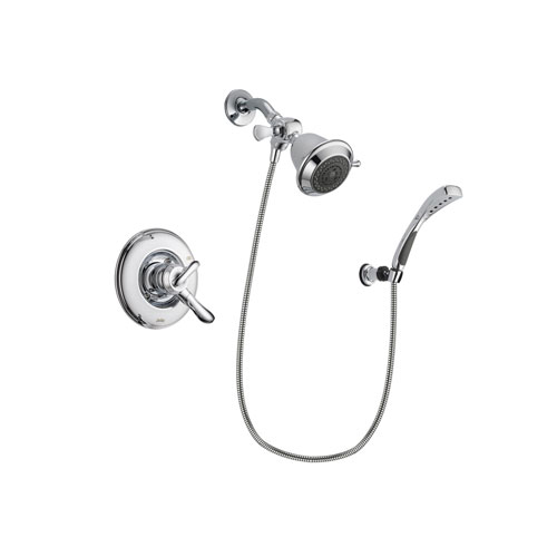 Delta Linden Chrome Finish Dual Control Shower Faucet System Package with Shower Head and Wall-Mount Bracket with Handheld Shower Spray Includes Rough-in Valve DSP1000V