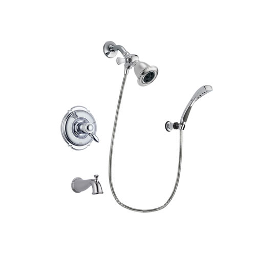 Delta Victorian Chrome Finish Thermostatic Tub and Shower Faucet System Package with Water Efficient Showerhead and Wall-Mount Bracket with Handheld Shower Spray Includes Rough-in Valve and Tub Spout DSP1005V