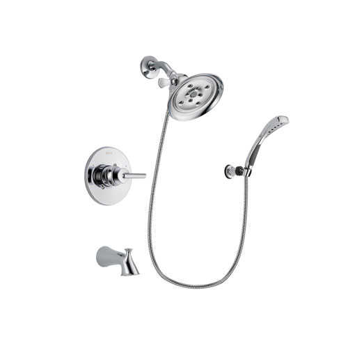 Delta Trinsic Chrome Finish Tub and Shower Faucet System Package with Large Rain Showerhead and Wall-Mount Bracket with Handheld Shower Spray Includes Rough-in Valve and Tub Spout DSP1049V