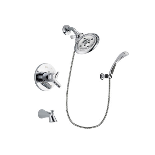 Delta Trinsic Chrome Finish Dual Control Tub and Shower Faucet System Package with Large Rain Showerhead and Wall-Mount Bracket with Handheld Shower Spray Includes Rough-in Valve and Tub Spout DSP1059V