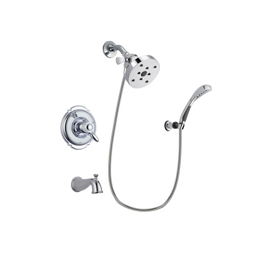 Delta Victorian Chrome Finish Thermostatic Tub and Shower Faucet System Package with 5-1/2 inch Shower Head and Wall-Mount Bracket with Handheld Shower Spray Includes Rough-in Valve and Tub Spout DSP1073V