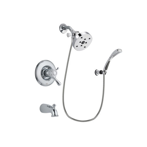 Delta Leland Chrome Finish Thermostatic Tub and Shower Faucet System Package with 5-1/2 inch Shower Head and Wall-Mount Bracket with Handheld Shower Spray Includes Rough-in Valve and Tub Spout DSP1075V