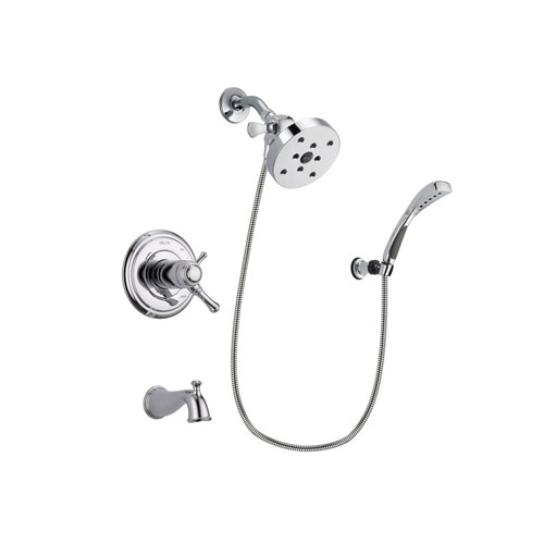Delta Cassidy Chrome Finish Thermostatic Tub and Shower Faucet System Package with 5-1/2 inch Shower Head and Wall-Mount Bracket with Handheld Shower Spray Includes Rough-in Valve and Tub Spout DSP1079V