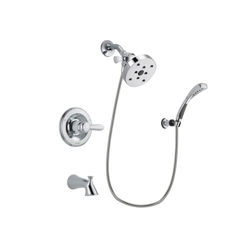 Delta Lahara Chrome Finish Tub and Shower Faucet System Package with 5-1/2 inch Shower Head and Wall-Mount Bracket with Handheld Shower Spray Includes Rough-in Valve and Tub Spout DSP1081V