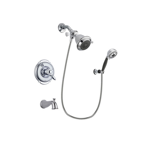 Delta Victorian Chrome Finish Thermostatic Tub and Shower Faucet System Package with Shower Head and 5-Spray Modern Handheld Shower with Wall Bracket and Hose Includes Rough-in Valve and Tub Spout DSP1107V