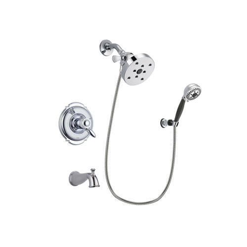 Delta Victorian Chrome Finish Thermostatic Tub and Shower Faucet System Package with 5-1/2 inch Shower Head and 5-Spray Modern Handheld Shower with Wall Bracket and Hose Includes Rough-in Valve and Tub Spout DSP1209V