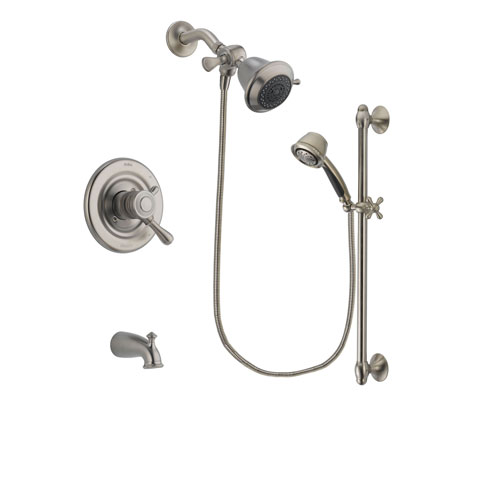 Delta Leland Stainless Steel Finish Dual Control Tub and Shower Faucet System Package with Shower Head and 5-Spray Personal Handshower with Slide Bar Includes Rough-in Valve and Tub Spout DSP1267V