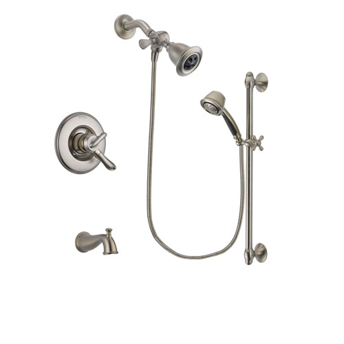 Delta Linden Stainless Steel Finish Dual Control Tub and Shower Faucet System Package with Water Efficient Showerhead and 5-Spray Personal Handshower with Slide Bar Includes Rough-in Valve and Tub Spout DSP1305V