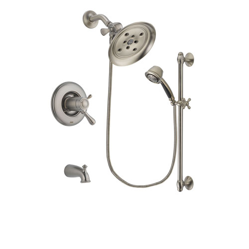 Delta Leland Stainless Steel Finish Thermostatic Tub and Shower Faucet System Package with Large Rain Showerhead and 5-Spray Personal Handshower with Slide Bar Includes Rough-in Valve and Tub Spout DSP1313V
