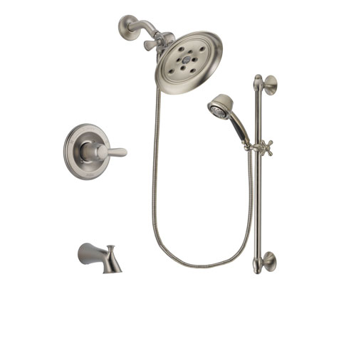 Delta Lahara Stainless Steel Finish Tub and Shower Faucet System Package with Large Rain Showerhead and 5-Spray Personal Handshower with Slide Bar Includes Rough-in Valve and Tub Spout DSP1319V