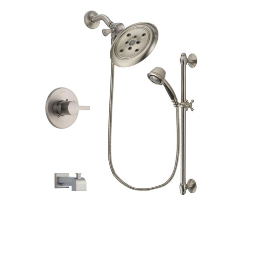 Delta Compel Stainless Steel Finish Tub and Shower Faucet System Package with Large Rain Showerhead and 5-Spray Personal Handshower with Slide Bar Includes Rough-in Valve and Tub Spout DSP1323V