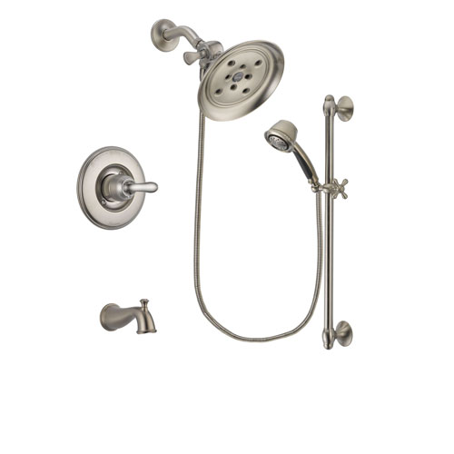 Delta Linden Stainless Steel Finish Tub and Shower Faucet System Package with Large Rain Showerhead and 5-Spray Personal Handshower with Slide Bar Includes Rough-in Valve and Tub Spout DSP1327V