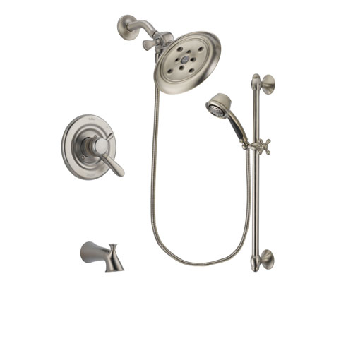 Delta Lahara Stainless Steel Finish Dual Control Tub and Shower Faucet System Package with Large Rain Showerhead and 5-Spray Personal Handshower with Slide Bar Includes Rough-in Valve and Tub Spout DSP1329V