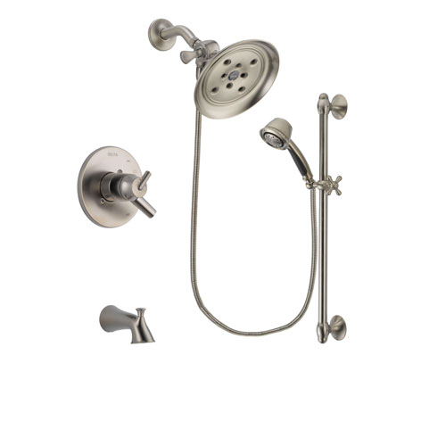 Delta Trinsic Stainless Steel Finish Dual Control Tub and Shower Faucet System Package with Large Rain Showerhead and 5-Spray Personal Handshower with Slide Bar Includes Rough-in Valve and Tub Spout DSP1331V