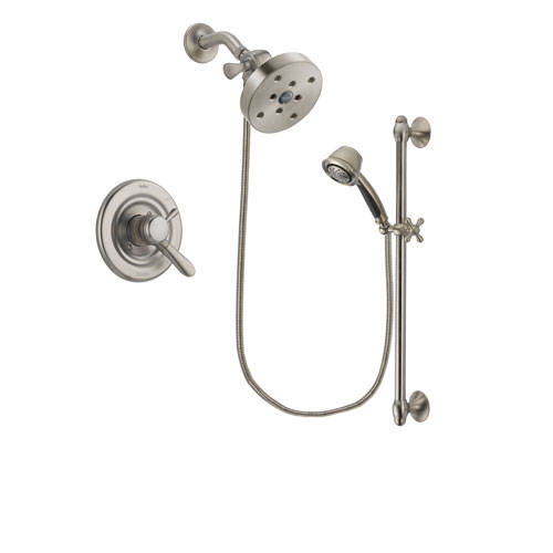 Delta Lahara Stainless Steel Finish Dual Control Shower Faucet System Package with 5-1/2 inch Shower Head and 5-Spray Personal Handshower with Slide Bar Includes Rough-in Valve DSP1364V