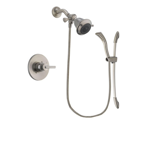 Delta Trinsic Stainless Steel Finish Shower Faucet System Package with Shower Head and Handshower with Slide Bar Includes Rough-in Valve DSP1390V