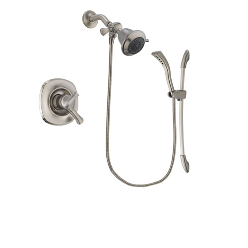 Delta Addison Stainless Steel Finish Dual Control Shower Faucet System Package with Shower Head and Handshower with Slide Bar Includes Rough-in Valve DSP1406V