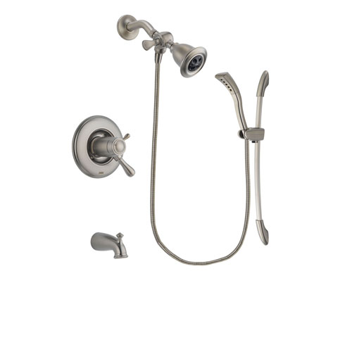 Delta Leland Stainless Steel Finish Thermostatic Tub and Shower Faucet System Package with Water Efficient Showerhead and Handshower with Slide Bar Includes Rough-in Valve and Tub Spout DSP1415V