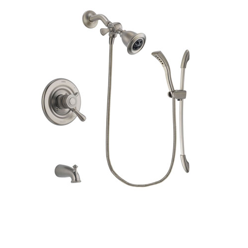 Delta Leland Stainless Steel Finish Dual Control Tub and Shower Faucet System Package with Water Efficient Showerhead and Handshower with Slide Bar Includes Rough-in Valve and Tub Spout DSP1437V