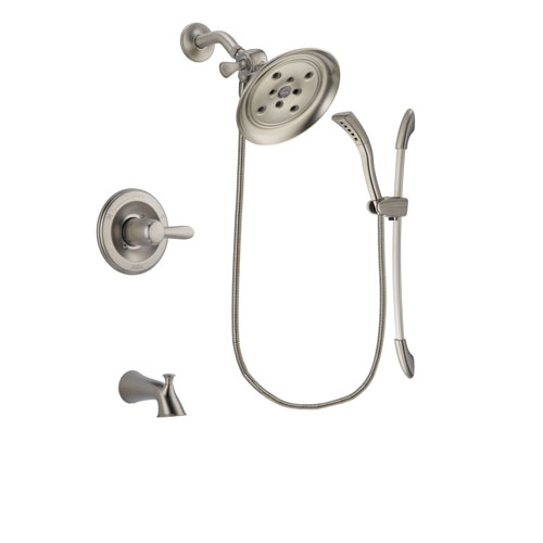 Delta Lahara Stainless Steel Finish Tub and Shower Faucet System Package with Large Rain Showerhead and Handshower with Slide Bar Includes Rough-in Valve and Tub Spout DSP1455V