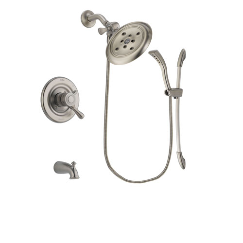 Delta Leland Stainless Steel Finish Dual Control Tub and Shower Faucet System Package with Large Rain Showerhead and Handshower with Slide Bar Includes Rough-in Valve and Tub Spout DSP1471V
