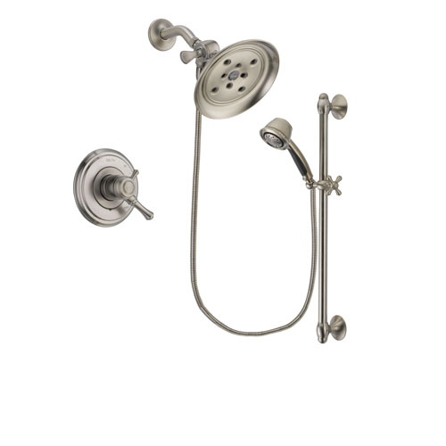 Delta Cassidy Stainless Steel Finish Dual Control Shower Faucet System Package with Large Rain Showerhead and Handshower with Slide Bar Includes Rough-in Valve DSP1478V