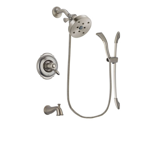Delta Victorian Stainless Steel Finish Thermostatic Tub and Shower Faucet System Package with 5-1/2 inch Shower Head and Handshower with Slide Bar Includes Rough-in Valve and Tub Spout DSP1481V
