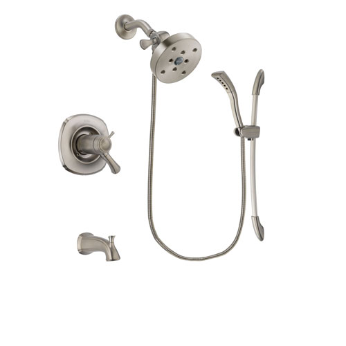 Delta Addison Stainless Steel Finish Thermostatic Tub and Shower Faucet System Package with 5-1/2 inch Shower Head and Handshower with Slide Bar Includes Rough-in Valve and Tub Spout DSP1485V