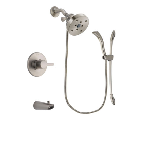 Delta Compel Stainless Steel Finish Tub and Shower Faucet System Package with 5-1/2 inch Shower Head and Handshower with Slide Bar Includes Rough-in Valve and Tub Spout DSP1493V