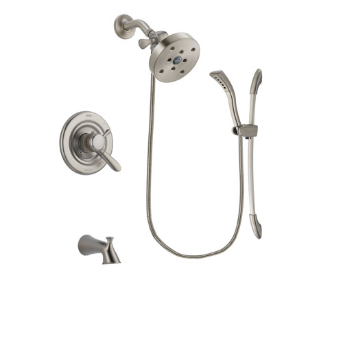 Delta Lahara Stainless Steel Finish Dual Control Tub and Shower Faucet System Package with 5-1/2 inch Shower Head and Handshower with Slide Bar Includes Rough-in Valve and Tub Spout DSP1499V