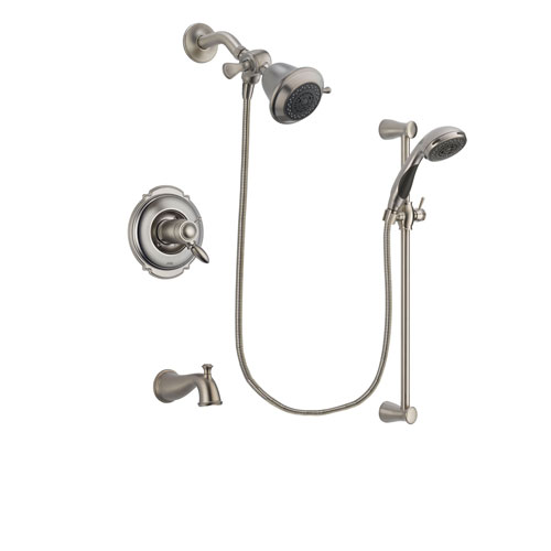 Delta Victorian Stainless Steel Finish Thermostatic Tub and Shower Faucet System Package with Shower Head and Handheld Shower Spray with Slide Bar Includes Rough-in Valve and Tub Spout DSP1515V