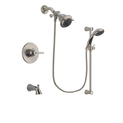 Delta Trinsic Stainless Steel Finish Tub and Shower Faucet System Package with Shower Head and Handheld Shower Spray with Slide Bar Includes Rough-in Valve and Tub Spout DSP1525V