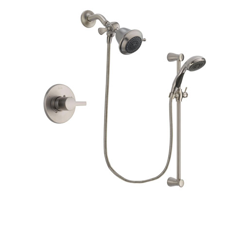 Delta Compel Stainless Steel Finish Shower Faucet System Package with Shower Head and Handheld Shower Spray with Slide Bar Includes Rough-in Valve DSP1528V