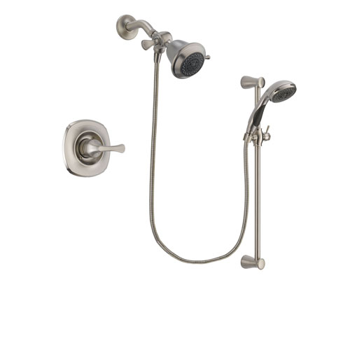 Delta Addison Stainless Steel Finish Shower Faucet System Package with Shower Head and Handheld Shower Spray with Slide Bar Includes Rough-in Valve DSP1530V