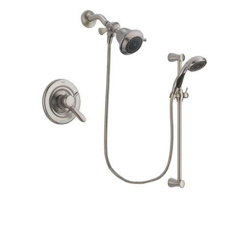 Delta Lahara Stainless Steel Finish Dual Control Shower Faucet System Package with Shower Head and Handheld Shower Spray with Slide Bar Includes Rough-in Valve DSP1534V