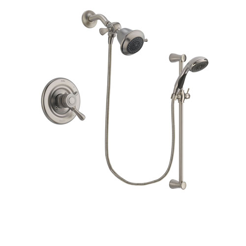 Delta Leland Stainless Steel Finish Dual Control Shower Faucet System Package with Shower Head and Handheld Shower Spray with Slide Bar Includes Rough-in Valve DSP1540V