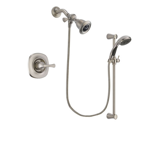 Delta Addison Stainless Steel Finish Shower Faucet System Package with Water Efficient Showerhead and Handheld Shower Spray with Slide Bar Includes Rough-in Valve DSP1564V