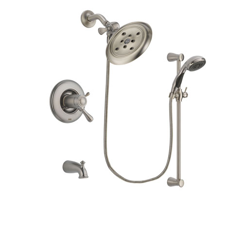 Delta Leland Stainless Steel Finish Thermostatic Tub and Shower Faucet System Package with Large Rain Showerhead and Handheld Shower Spray with Slide Bar Includes Rough-in Valve and Tub Spout DSP1585V