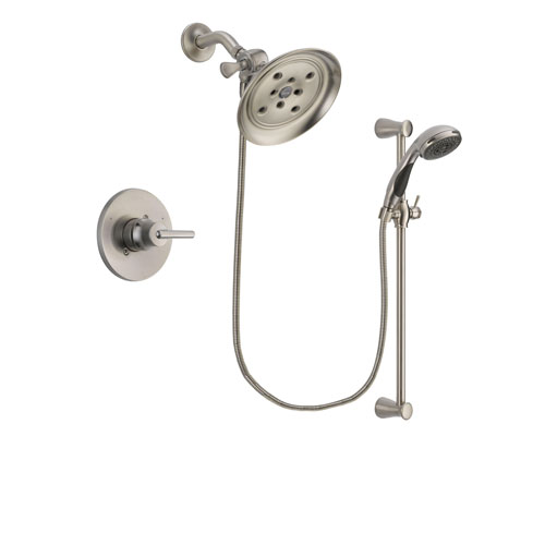 Delta Trinsic Stainless Steel Finish Shower Faucet System Package with Large Rain Showerhead and Handheld Shower Spray with Slide Bar Includes Rough-in Valve DSP1594V