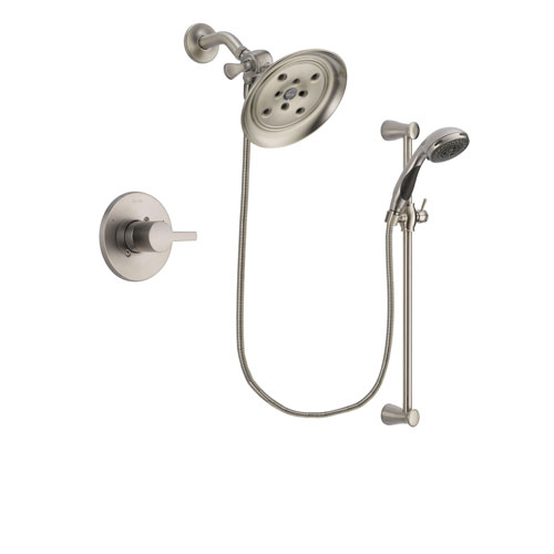 Delta Compel Stainless Steel Finish Shower Faucet System Package with Large Rain Showerhead and Handheld Shower Spray with Slide Bar Includes Rough-in Valve DSP1596V