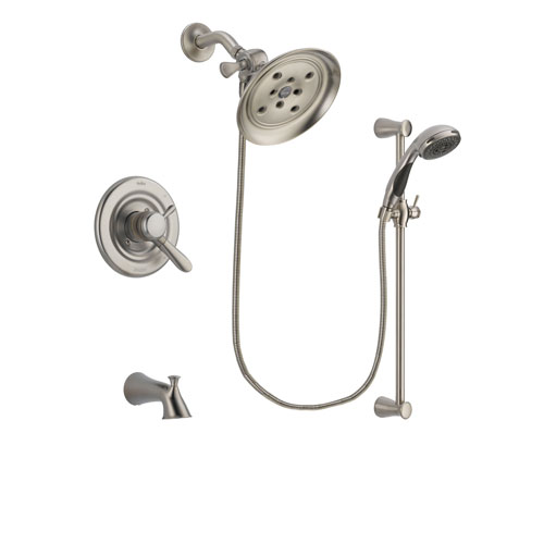 Delta Lahara Stainless Steel Finish Dual Control Tub and Shower Faucet System Package with Large Rain Showerhead and Handheld Shower Spray with Slide Bar Includes Rough-in Valve and Tub Spout DSP1601V
