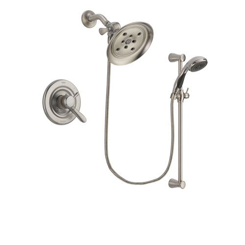 Delta Lahara Stainless Steel Finish Dual Control Shower Faucet System Package with Large Rain Showerhead and Handheld Shower Spray with Slide Bar Includes Rough-in Valve DSP1602V