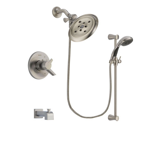 Delta Compel Stainless Steel Finish Dual Control Tub and Shower Faucet System Package with Large Rain Showerhead and Handheld Shower Spray with Slide Bar Includes Rough-in Valve and Tub Spout DSP1605V