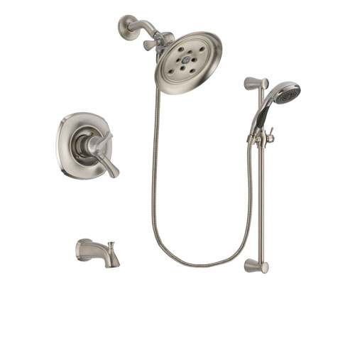 Delta Addison Stainless Steel Finish Dual Control Tub and Shower Faucet System Package with Large Rain Showerhead and Handheld Shower Spray with Slide Bar Includes Rough-in Valve and Tub Spout DSP1609V