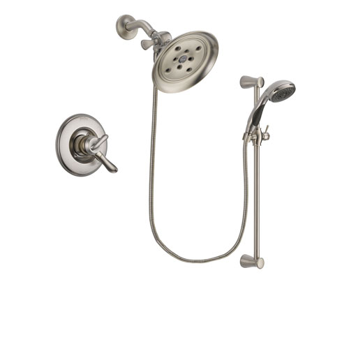 Delta Linden Stainless Steel Finish Dual Control Shower Faucet System Package with Large Rain Showerhead and Handheld Shower Spray with Slide Bar Includes Rough-in Valve DSP1612V