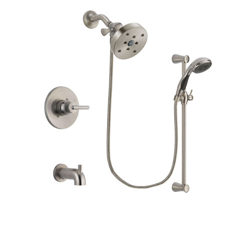 Delta Trinsic Stainless Steel Finish Tub and Shower Faucet System Package with 5-1/2 inch Shower Head and Handheld Shower Spray with Slide Bar Includes Rough-in Valve and Tub Spout DSP1627V