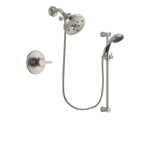 Delta Compel Stainless Steel Finish Shower Faucet System Package with 5-1/2 inch Shower Head and Handheld Shower Spray with Slide Bar Includes Rough-in Valve DSP1630V
