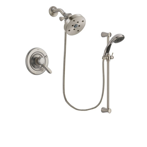 Delta Lahara Stainless Steel Finish Dual Control Shower Faucet System Package with 5-1/2 inch Shower Head and Handheld Shower Spray with Slide Bar Includes Rough-in Valve DSP1636V